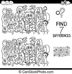 differences game with people group coloring book - Black and...