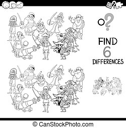 Black and White Cartoon Illustration of Find and Spot Six Differences Between Pictures Educational Activity Game for Kids with Pirates Fantasy Characters Group Coloring Book