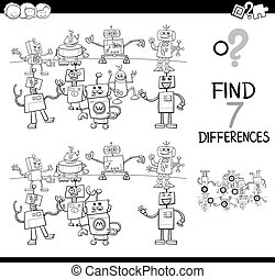 differences game with robots color book - Black and White...