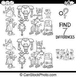 differences game with robots coloring book