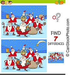 differences game with Santa Claus Christmas characters