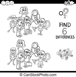 differences game with school kids for coloring - Black and...