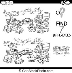 differences game with vehicles color book