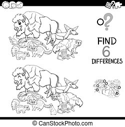 differences game with wild animals for coloring - Black and ...
