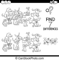 differences game with wild pets color book - Black and White...