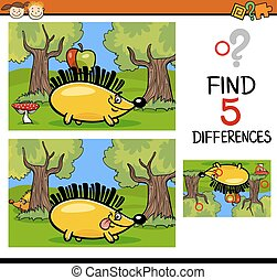 differences task for children - Cartoon Illustration of ...