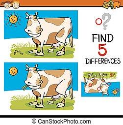 differences task for children - Cartoon Illustration of...