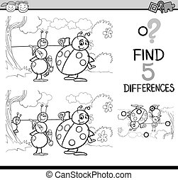 differences task for coloring book - Black and White Cartoon...