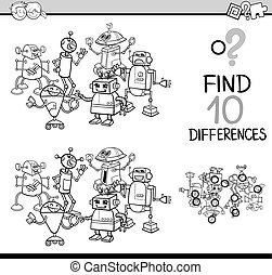 differences task for coloring - Black and White Cartoon...