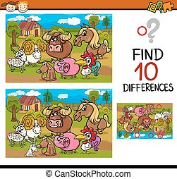 differences task with animals - Cartoon Illustration of...