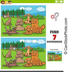 differences task with cartoon dogs group