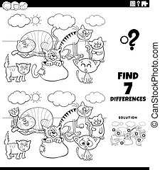 differences task with cats coloring book page - Black and ...