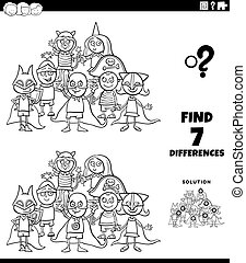 differences task with kids at costume party color book page...