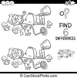 differences with boy and sweets coloring book - Black and...