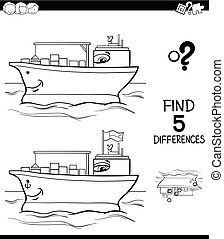 differences with container ship color book