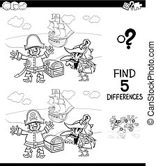 differences with pirate characters color book