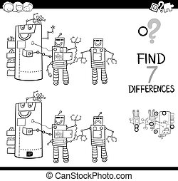 differences with robot characters color book - Black and...