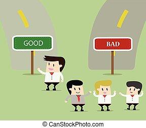 different., ビジネスを考えなさい, illustration., 概念