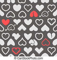 Different abstract heart icons seamless background