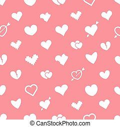 Different abstract hearts pink seamless pattern