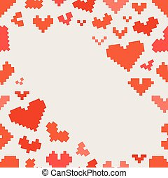 Different abstract hearts. Valentine greeting card