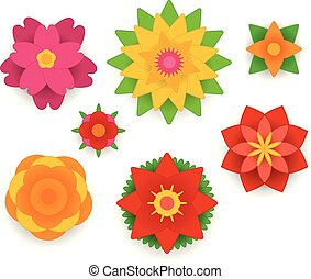 Different abstract paper style flowers vector collection