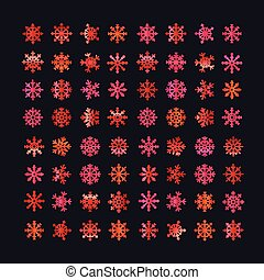 Different abstract red vector snowflakes collection