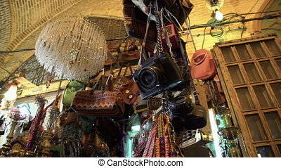 Different accessories on display in a shop