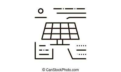 different actions of solar battery Icon Animation. black different actions of solar battery animated icon on white background