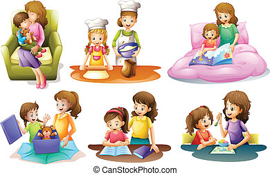 Different activities of a mother and a child - Illustration ...
