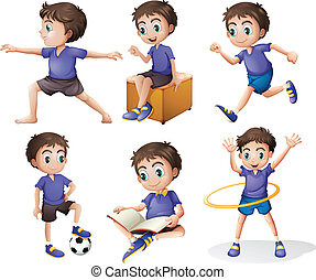 Different activities of a young boy - Illustration of the...
