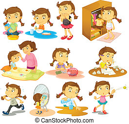 Illustration of the different activities of a young girl on a white background