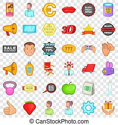 Different advertising icons set, cartoon style