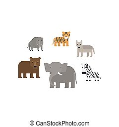 Different african animals flat icons set