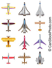 Different airplanes icons set