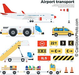Different airport transport on white background