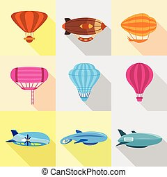 Different airships icons set, flat style