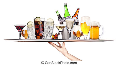 different alcohol drinks on a tray -beer, cocktail, ...