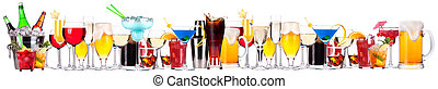 different alcohol drinks set -beer, cocktail, champagne, ...