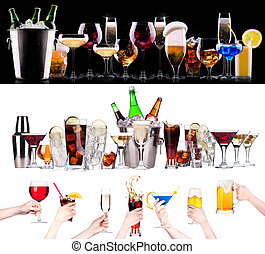 different alcohol drinks set - beer, wine, cocktail, juice, champagne, scotch, soda