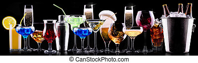 different alcohol drinks set - beer, wine, cocktail, juice, ...