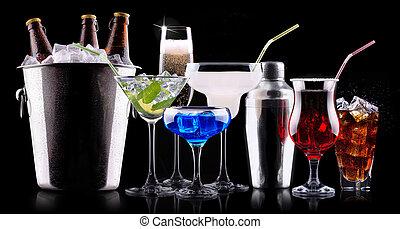 different alcohol drinks set - beer, wine, cocktail, juice, ...