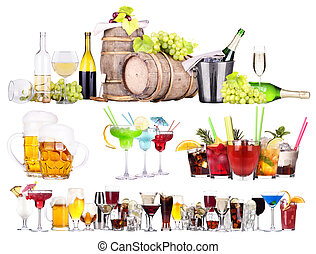 different alcohol drinks set isolated- beer, martini, cola, ...