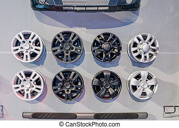 Different alloy wheels on sale and display