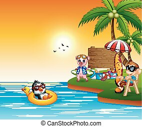 Different animal cartoon relax on the beach