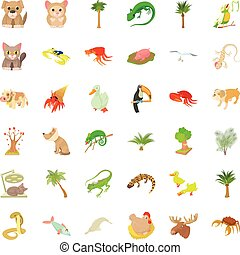 Different animal icons set, cartoon style