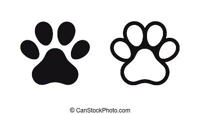 Different animal paw print vector illustrations