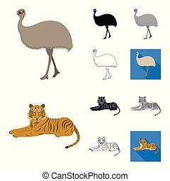 Different animals cartoon, black, flat, monochrome, outline icons in set collection for design. Bird, predator and herbivore vector symbol stock web illustration.