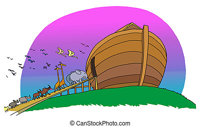 Different animals come in pairs in the ark of Noah.