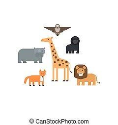 Different animals flat design icons set